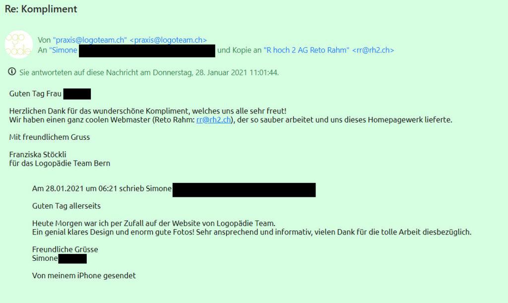 Kompliment für die neue Webseite von Simone - Screenshot aus dem E-Mail-Verkehr