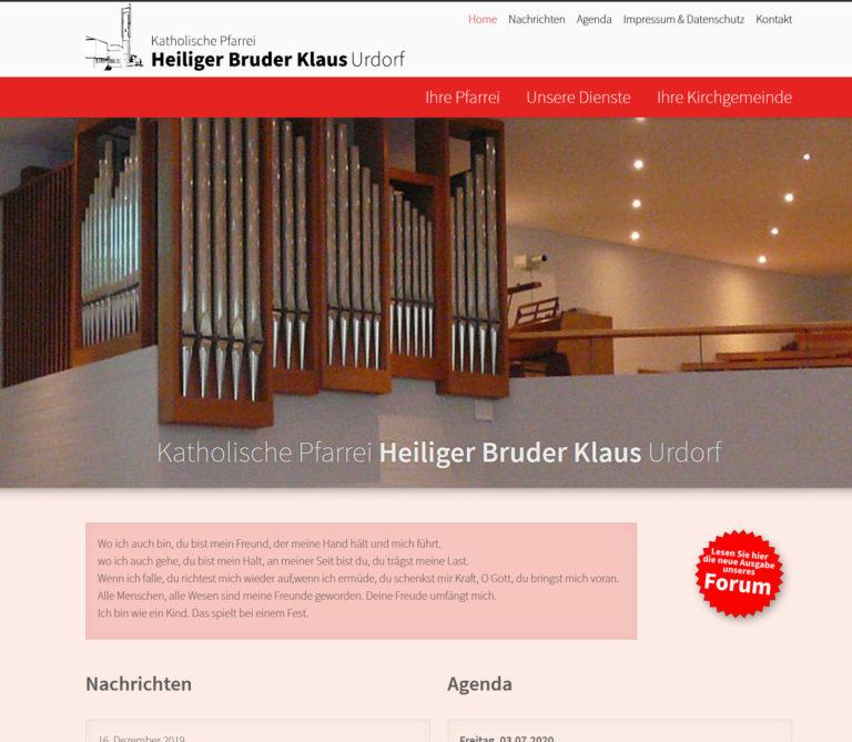 Screenshot Webseite der römisch-katholischen Pfarrei heiliger Bruder Klaus in Urdorf