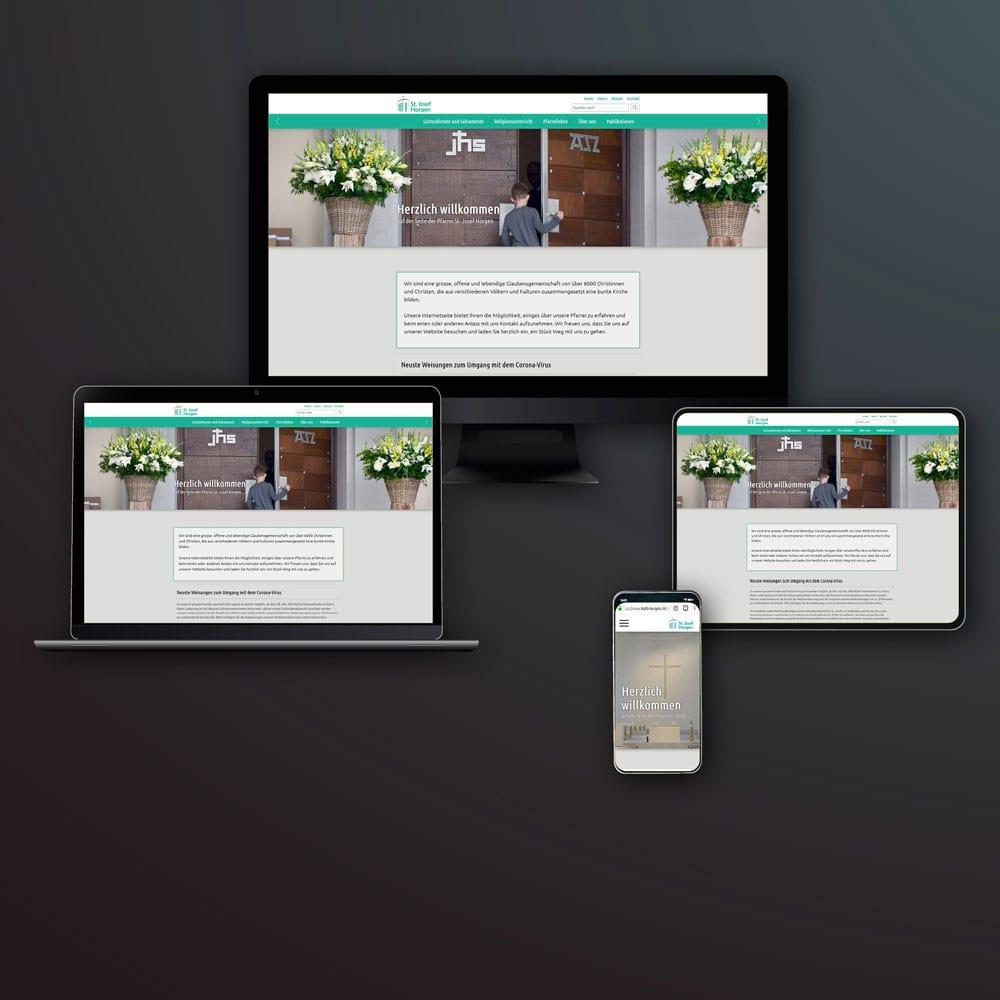 Erneuerung der Webpräsenz für die Pfarrei St. Josef - Screenshot der Website der katholischen Kirchgemeinde St. Josef in Horgen