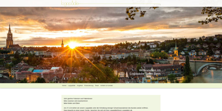 Screenshot der Website für das Logopädie Team in Bern