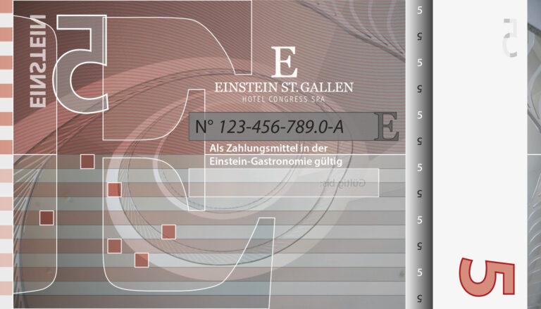 5-Franken-Note als Gutschein für das Hotel Einstein in St. Gallen