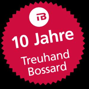 Internetpräsenz für die Treuhand Bossard GmbH - Badge für das 10-jährige Jubiläum der Firma Treuhand Bossard GmbH in Basel