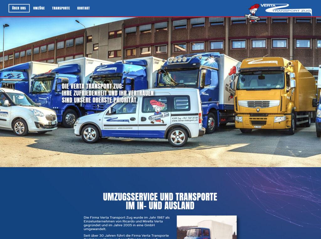 Bildschirmausschnitt der neuen Homepage für die Verta Transporte GmbH in Zug