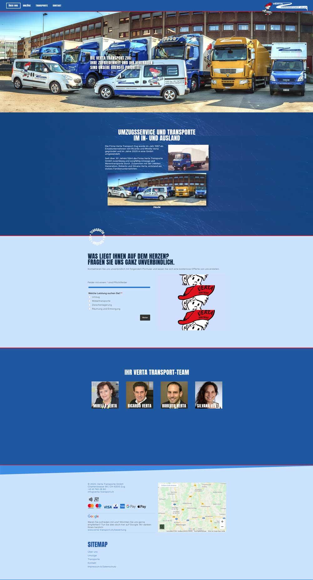 Verta Transport Zug - Screenshot der ganzen neuen Webseite